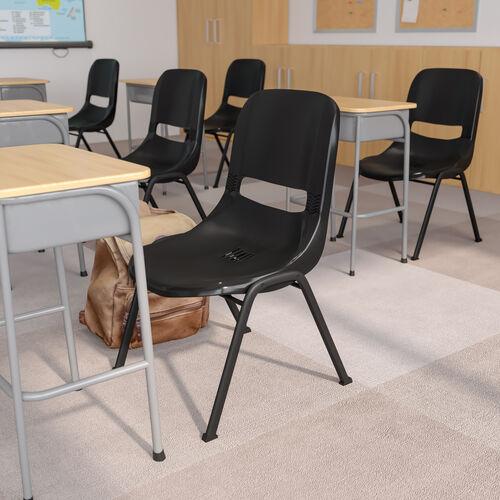 HERCULES Series 880 lb. Capacity Black Ergonomic Shell Stack Chair with Black Frame
