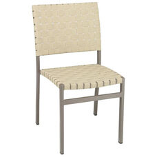 St. Augustine Collection Stackable Outdoor Side Chair with Mesh Belt Seat and Back - Taupe Frame and Khaki Seat