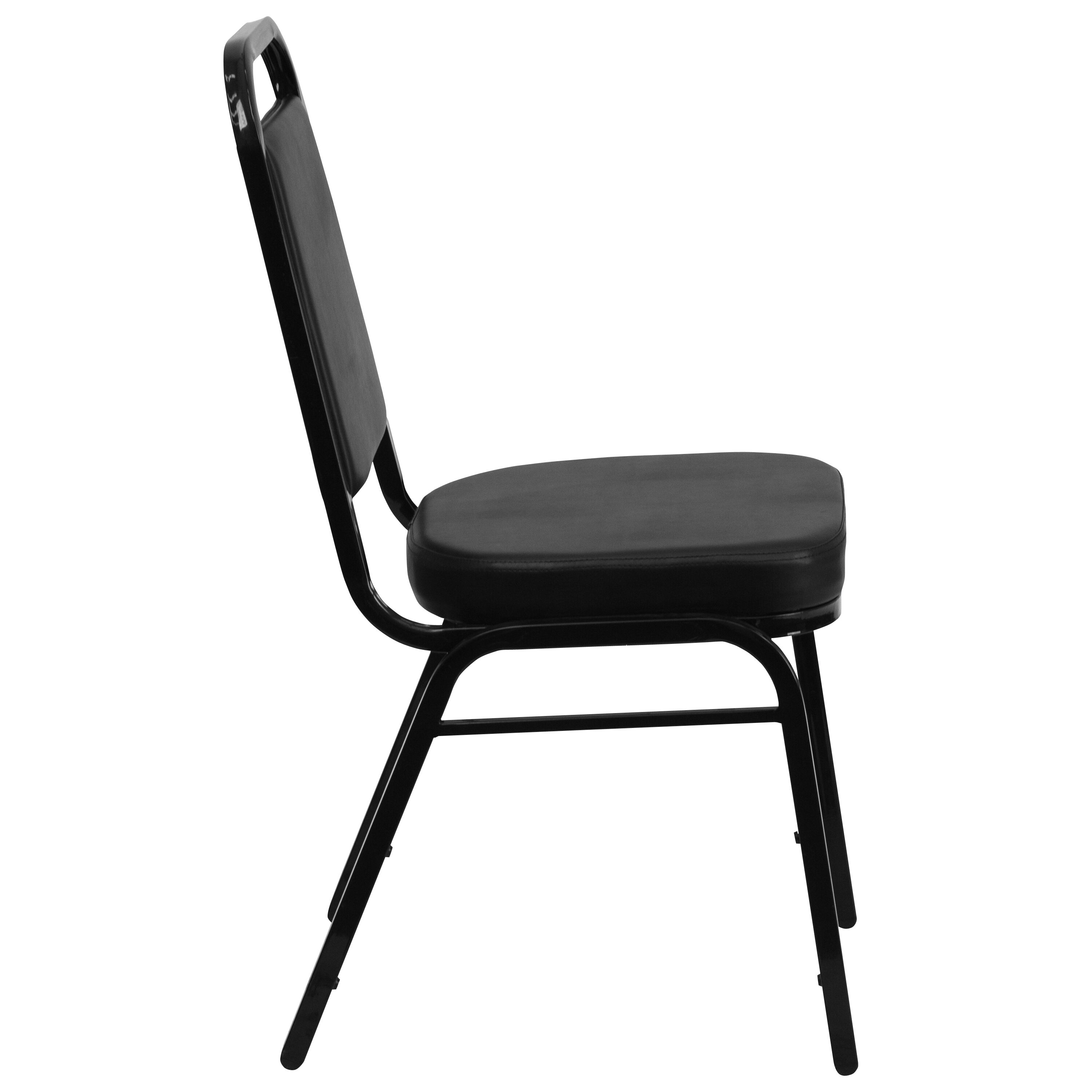 Flash Furniture HERCULES Series Trapezoidal Back Stacking Banquet Chair In  Black Vinyl   Black Frame FD BHF 1 GG   StackChairs4Less.com