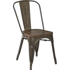 OSP Designs Indio Metal Chair with Wood Seat - Set of 4 - Matte Gunmetal and Brown Ash