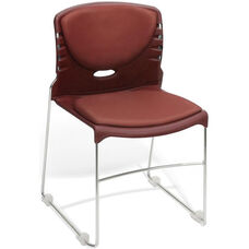 300 lb. Capacity Stack Chair with Anti-Microbial and Anti-Bacterial Vinyl Seat and Back - Wine