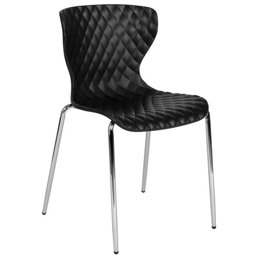 Our Lowell Contemporary Design Black Plastic Stack Chair is on sale now.
