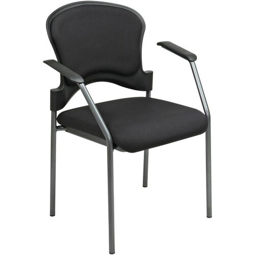 Pro-Line II Upholstered Contour Back Stacking Visitors Chair with Arms and Titanium Finish Frame - Black