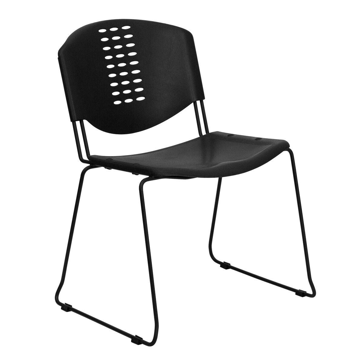black plastic stack chair rut nf02 bk gg. Black Bedroom Furniture Sets. Home Design Ideas