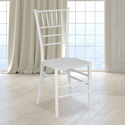 "HERCULES Series White Resin Stacking Chiavari Chair with <span style=""color:#0000CD;"">Free </span> Cushion"