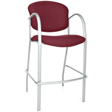 Danbelle Cafe Height Fabric Chair with Arms - Burgundy