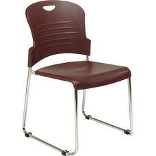 Work Smart Chrome Frame Sled Base Stack Chair with Plastic Seat and Back - Set of 2 - Burgundy