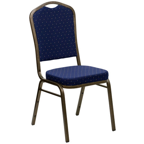 Our HERCULES Series Crown Back Stacking Banquet Chair in Navy Blue Dot Patterned Fabric - Gold Vein Frame is on sale now.