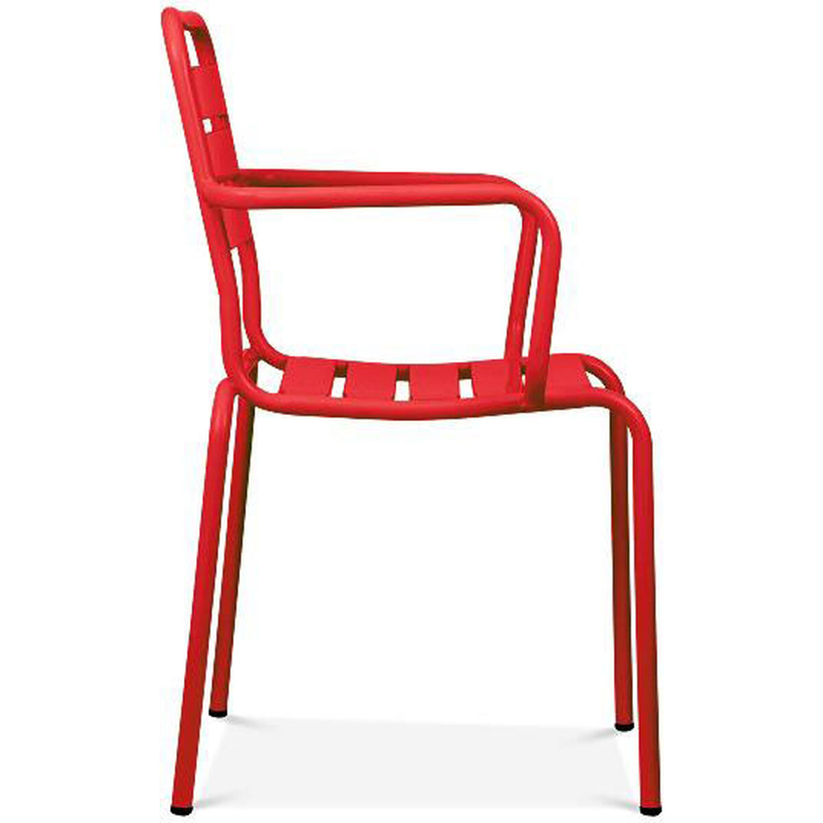 Design Lab Mn Paris Red Metal Stackable Arm Chair Set Of