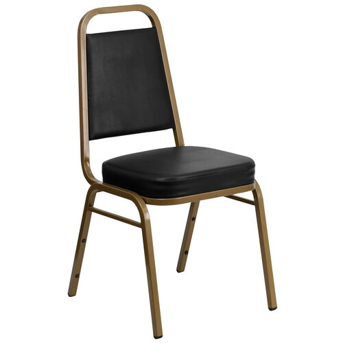 Our HERCULES Series Trapezoidal Back Stacking Banquet Chair in Black Vinyl - Gold Frame is on sale now.