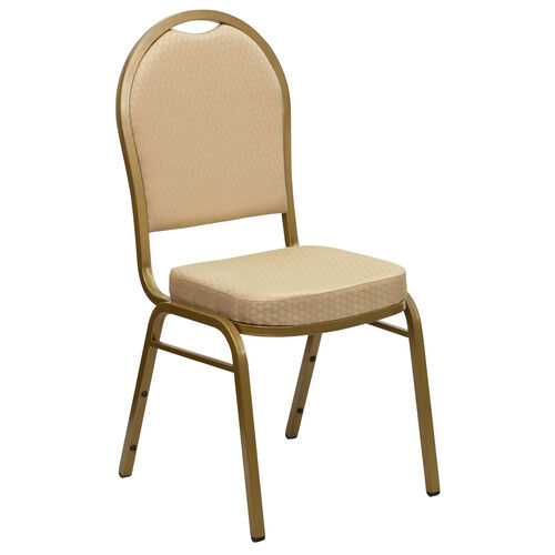 Our HERCULES Series Dome Back Stacking Banquet Chair in Beige Patterned Fabric - Gold Frame is on sale now.