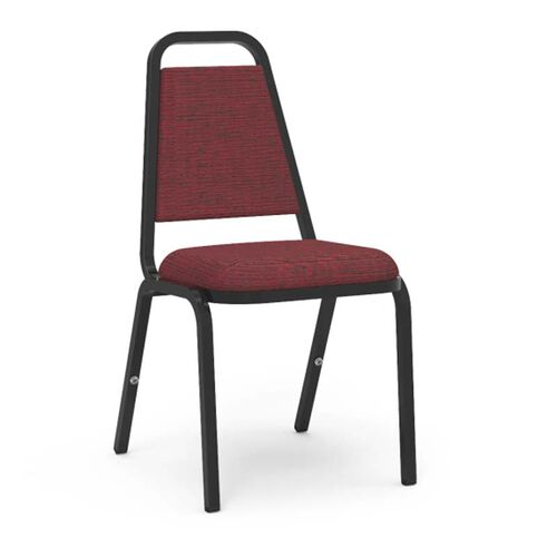 Our Quick Ship 8900 Series Trapezoid Back Stack Chair with Linen Burgundy Vinyl Upholstery and Black Frame - 18
