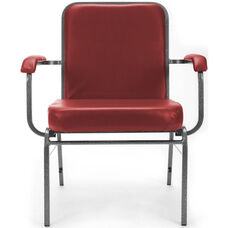 Comfort Class Big & Tall 500 lb. Capacity Anti-Microbial and Anti-Bacterial Vinyl Stack Chair with Arms- Wine