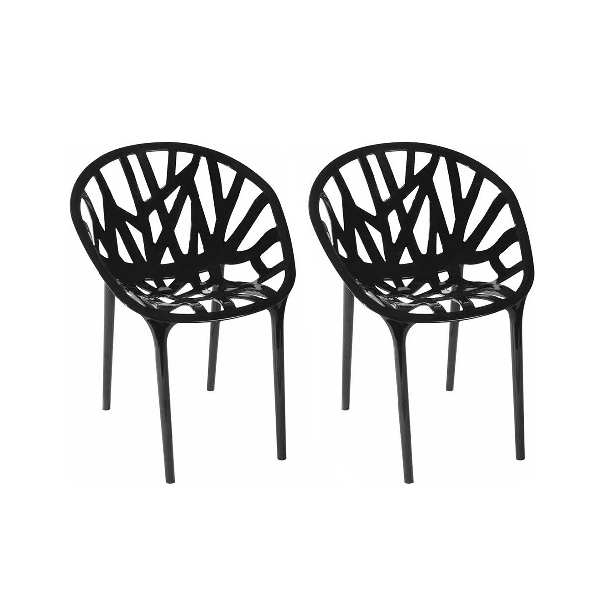 Branch Stackable Outdoor Black Accent Chair   Set Of 2