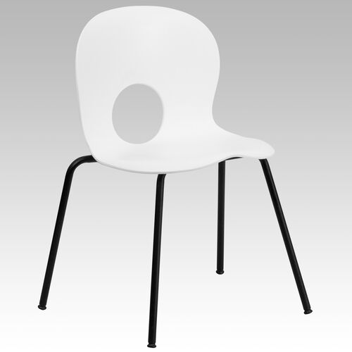 Our HERCULES Series 770 lb. Capacity Designer White Plastic Stack Chair with Black Frame is on sale now.