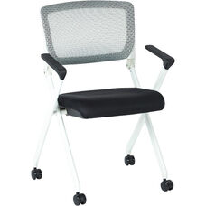 Space Pulsar Folding Chair with Breathable Mesh Back and Mesh Fabric Seat - Set of 2 - Black