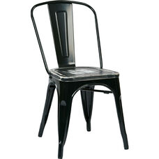 OSP Designs Bristow Metal Chair with Vintage Wood Seat - 2-Pack - Black and Ash Crazy Horse
