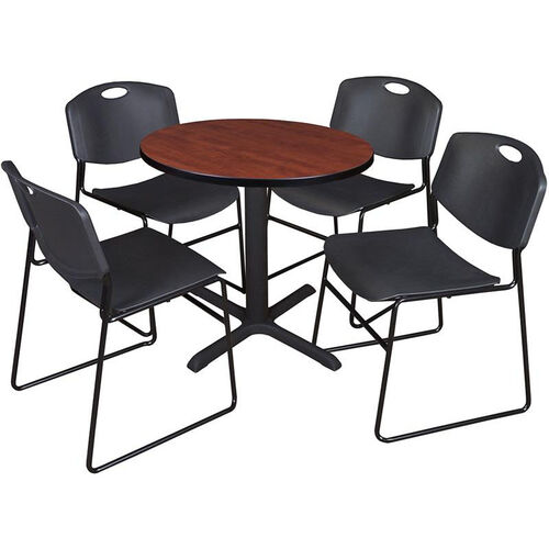 Round Table And Stack Chair Set Tb30rndch44bk Stackchairs4less Com