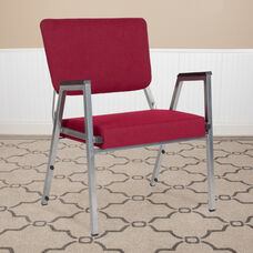 HERCULES Series 1500 lb. Rated Burgundy Antimicrobial Fabric Bariatric Antimicrobial Medical Reception Arm Chair with 3/4 Panel Back