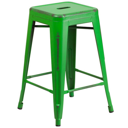 """Our Commercial Grade 24"""" High Backless Distressed Green Metal Indoor-Outdoor Counter Height Stool is on sale now."""