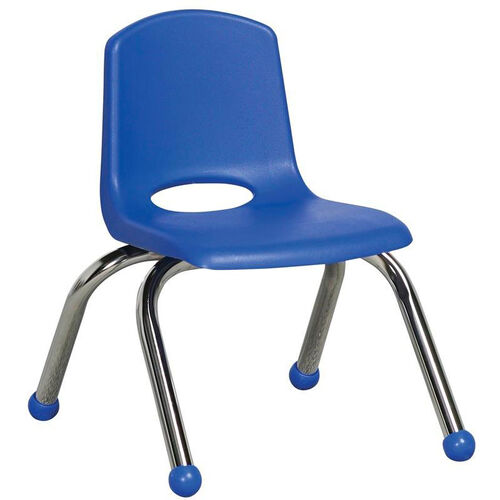 Vented Back Stacking Chair with Matching Seat and Ball Glides with Chrome Legs