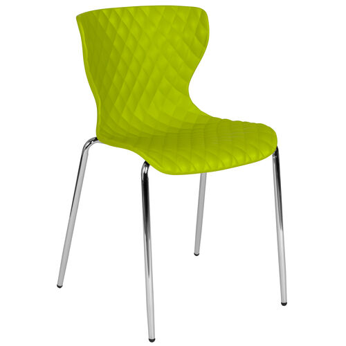 Our Lowell Contemporary Design Citrus Green Plastic Stack Chair is on sale now.