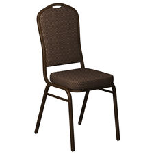 Crown Back Banquet Chair in Biltmore Log Cabin Fabric - Gold Vein Frame