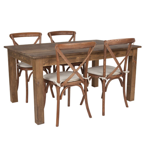 "Our 60"" x 38"" Antique Rustic Farm Table Set with 4 Cross Back Chairs and Cushions is on sale now."