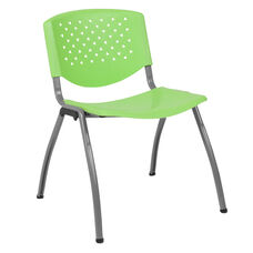 HERCULES Series 880 lb. Capacity Green Plastic Stack Chair with Titanium Gray Powder Coated Frame