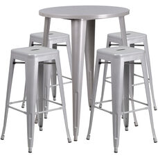 """Commercial Grade 30"""" Round Silver Metal Indoor-Outdoor Bar Table Set with 4 Square Seat Backless Stools"""