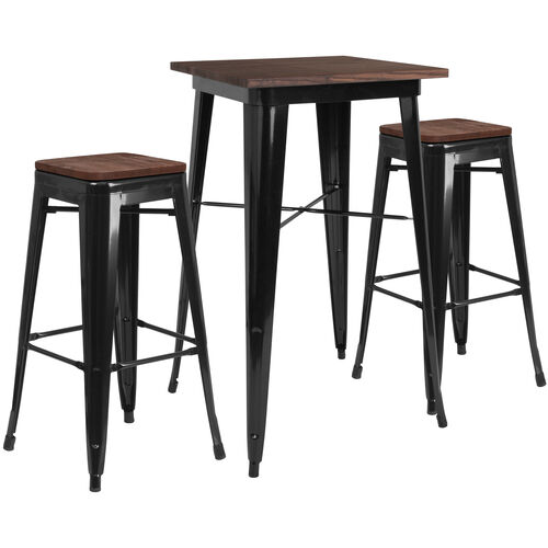 "Our 23.5"" Square Black Metal Bar Table Set with Wood Top and 2 Backless Stools is on sale now."