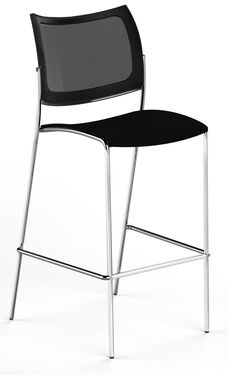 Bistro Escalate Stool with Mesh Back and Fabric Cushioned Seat - Set of 2 - Black