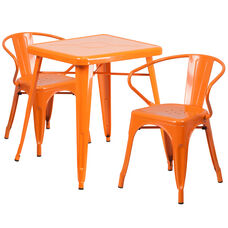 "Commercial Grade 23.75"" Square Orange Metal Indoor-Outdoor Table Set with 2 Arm Chairs"