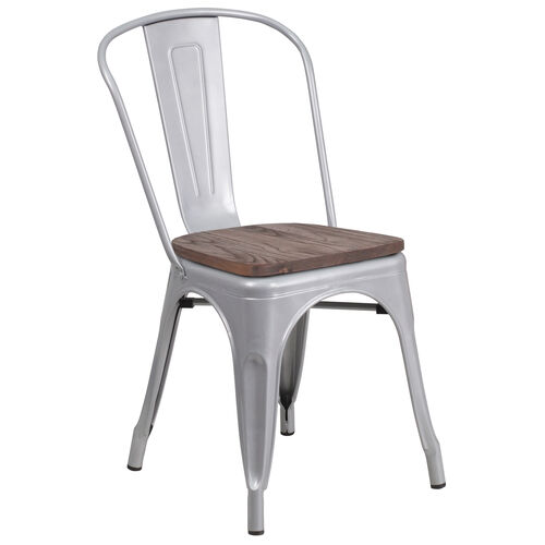 Our Silver Metal Stackable Chair with Wood Seat is on sale now.