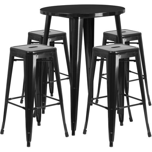"""Our Commercial Grade 30"""" Round Black Metal Indoor-Outdoor Bar Table Set with 4 Square Seat Backless Stools is on sale now."""