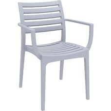 Artemis Resin Outdoor Stackable Dining Arm Chair - Silver Gray
