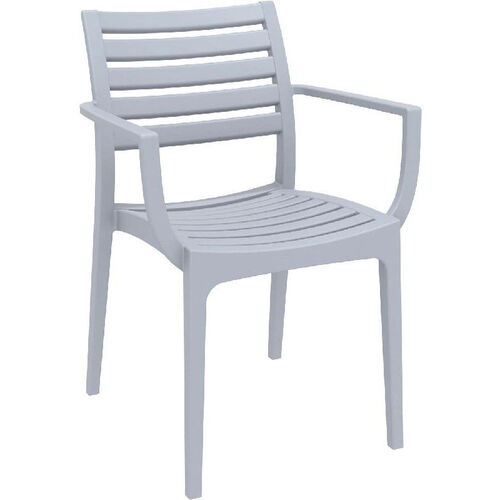 Our Artemis Resin Outdoor Stackable Dining Arm Chair - Silver Gray is on sale now.