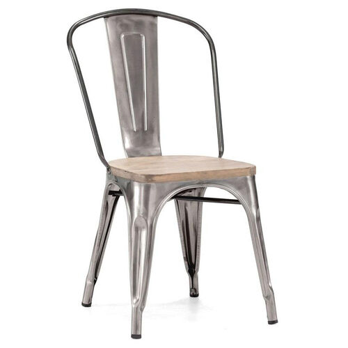 Dreux Stackable Steel Side Chair with Light Elm Wood Seat - Set of 4
