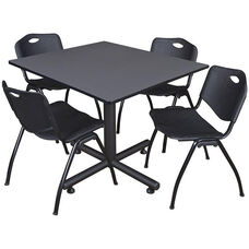 Kobe 48'' Square Laminate Breakroom Table with 4 ''M'' Stack Chairs - Gray Table Finish and Black Chairs