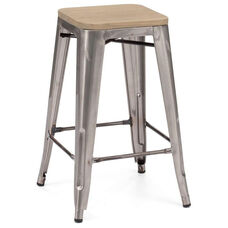 Dreux Clear Gunmetal Stackable Steel Counter Stool with Light Elm Wood Seat - Set of 4