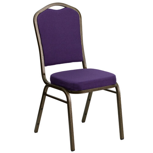 Our HERCULES Series Crown Back Stacking Banquet Chair in Purple Fabric - Gold Vein Frame is on sale now.