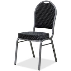 Lorell Sturdy Stacking Armless Chair with Textured Gray Fabric - Set of 4