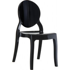 Elizabeth Polycarbonate Stackable Dining Chair with Oval Back - Glossy Black