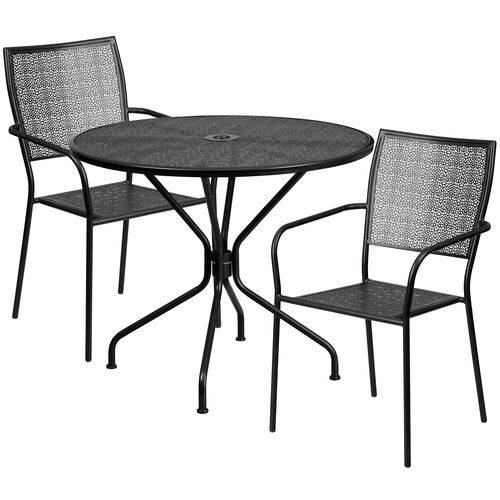 "Our Commercial Grade 35.25"" Round Black Indoor-Outdoor Steel Patio Table Set with 2 Square Back Chairs is on sale now."