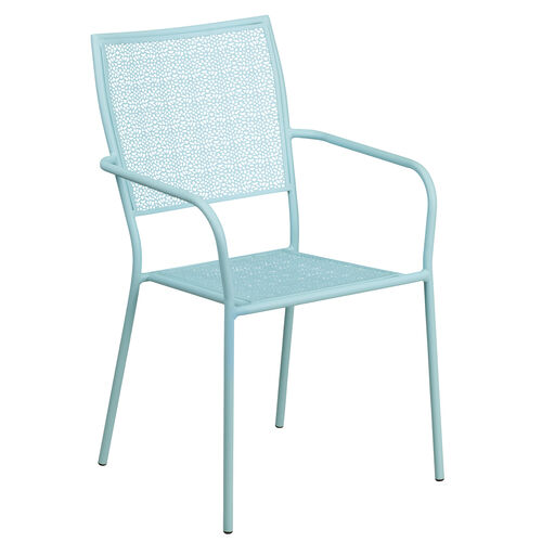 Our Commercial Grade Sky Blue Indoor-Outdoor Steel Patio Arm Chair with Square Back is on sale now.