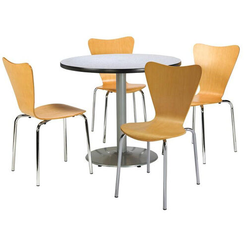 Round Laminate Table Set with Natural Finish Wood Cafe Stack Chairs - Seats 4