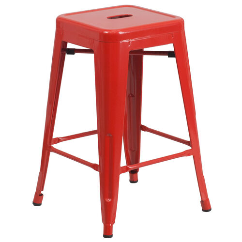 "Our Commercial Grade 24"" High Backless Red Metal Indoor-Outdoor Counter Height Stool with Square Seat is on sale now."
