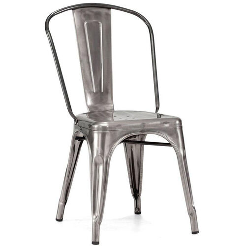 Our Dreux Stackable Clear Gunmetal Steel Side Chair - Set of 4 is on sale now.