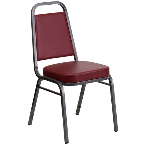 Our HERCULES Series Trapezoidal Back Stacking Banquet Chair in Burgundy Vinyl - Silver Vein Frame is on sale now.