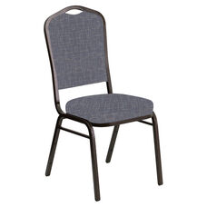 Crown Back Banquet Chair in Amaze Hazelwood Fabric - Gold Vein Frame